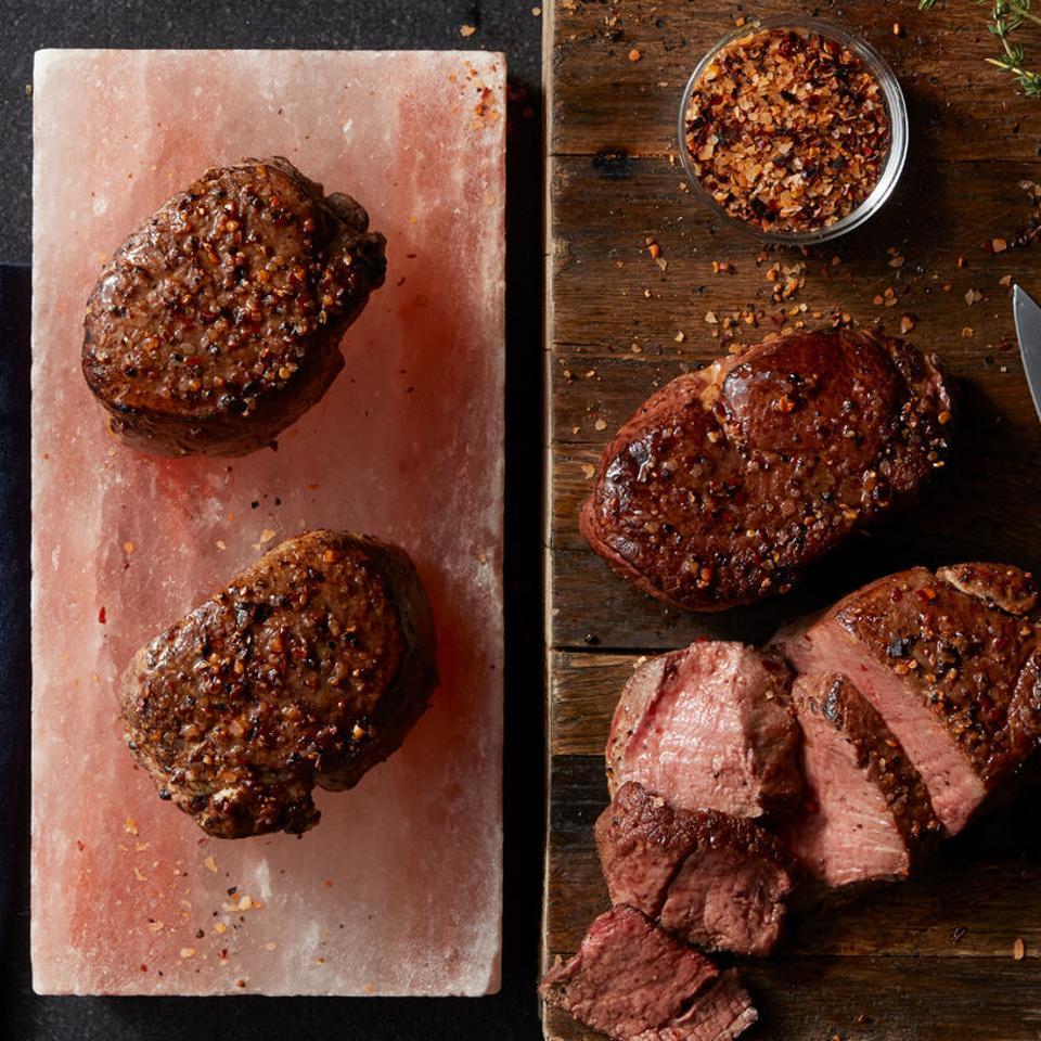 diet meal plan Hickory Farms 6 oz. Filets and Salt Block Gift Set