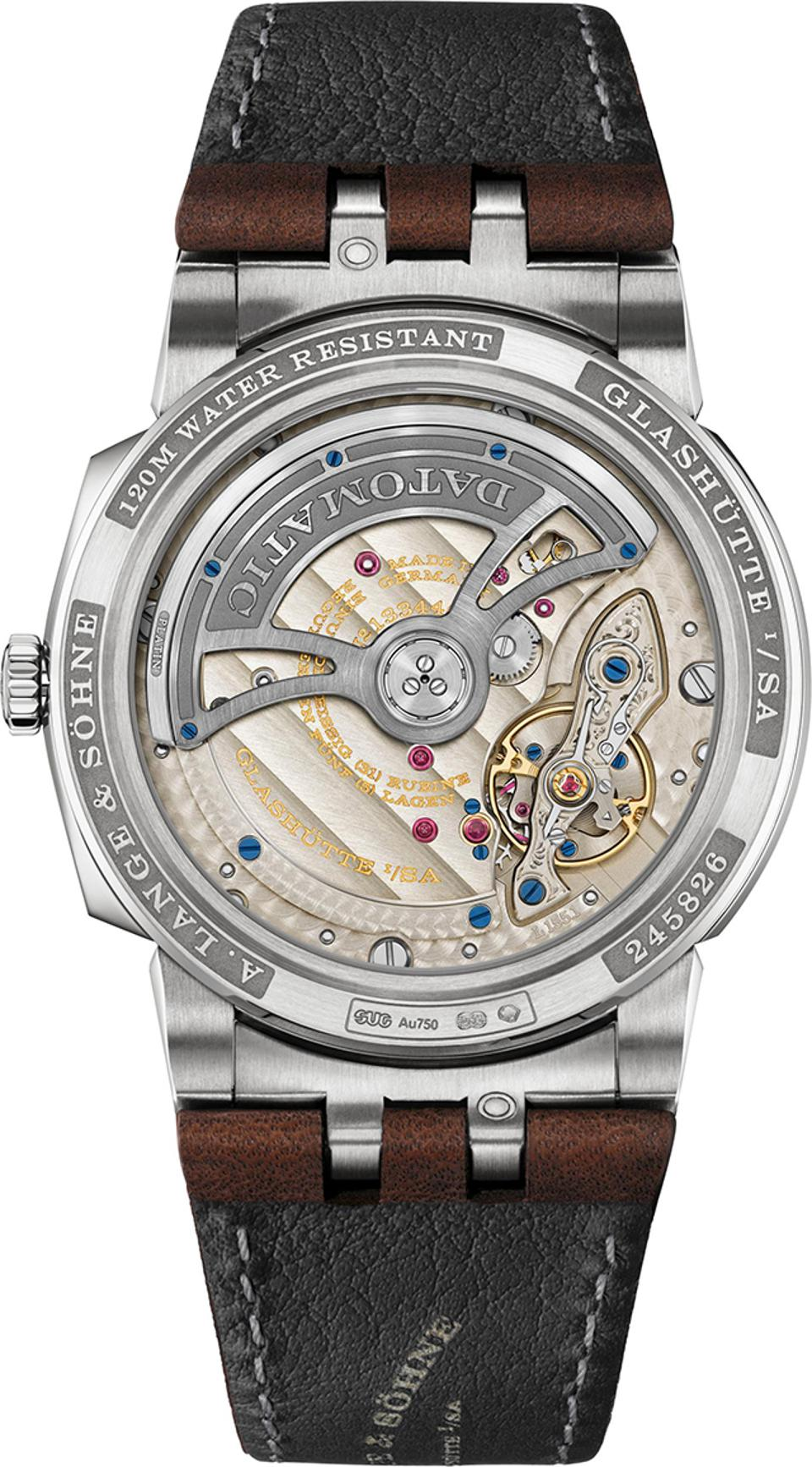 The open caseback of the A. Lange & Söhne Odysseus shows the movement.