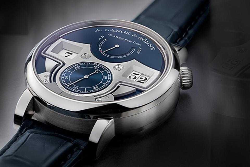 The A. Lange & Söhne Zeitwerk Minute Repeater, previously only available in platinum, is now in 18k white gold, with a blue dial.