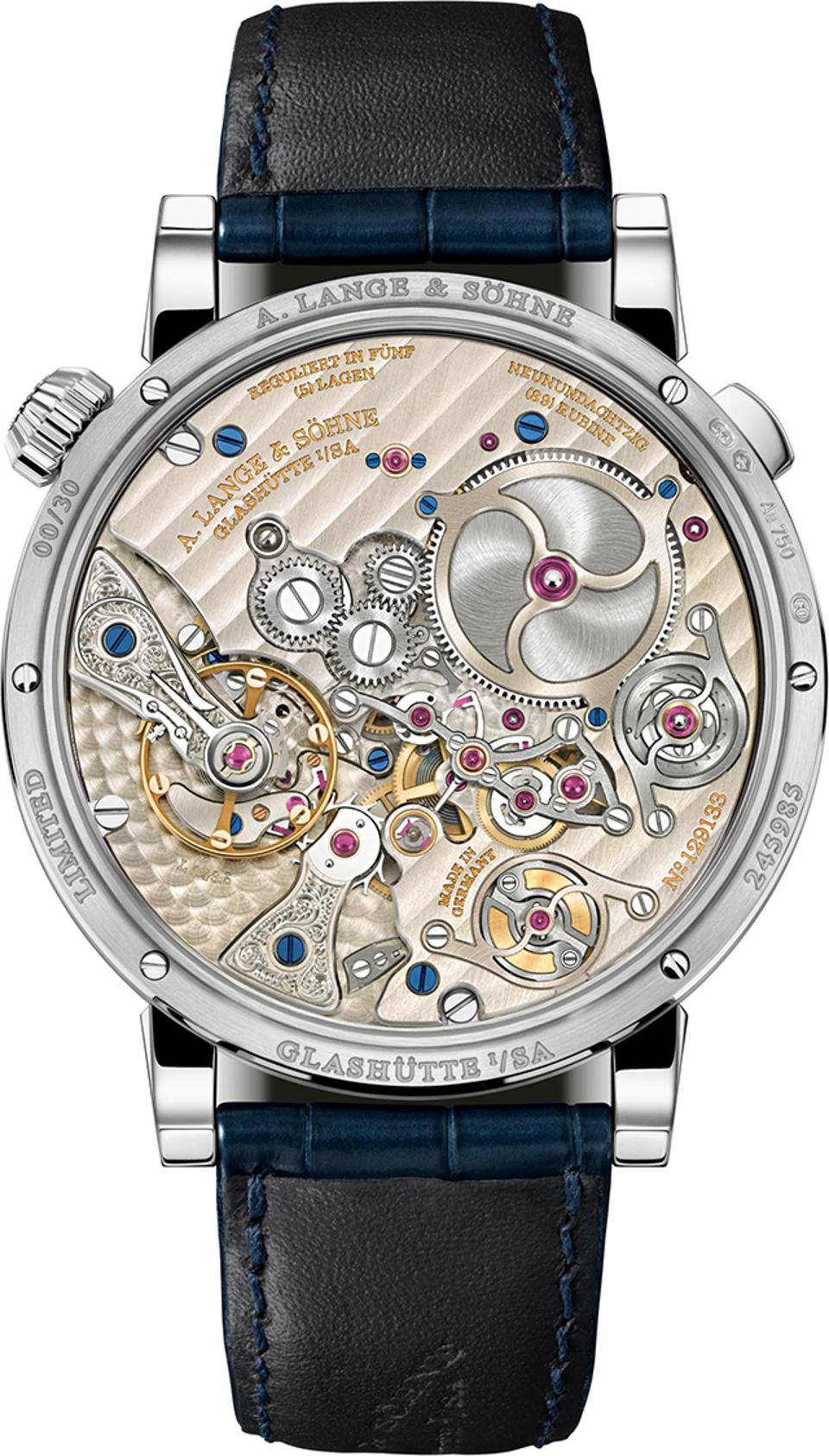The open caseback of the A. Lange & Söhne Zeitwerk Minute Repeater displays the movement.