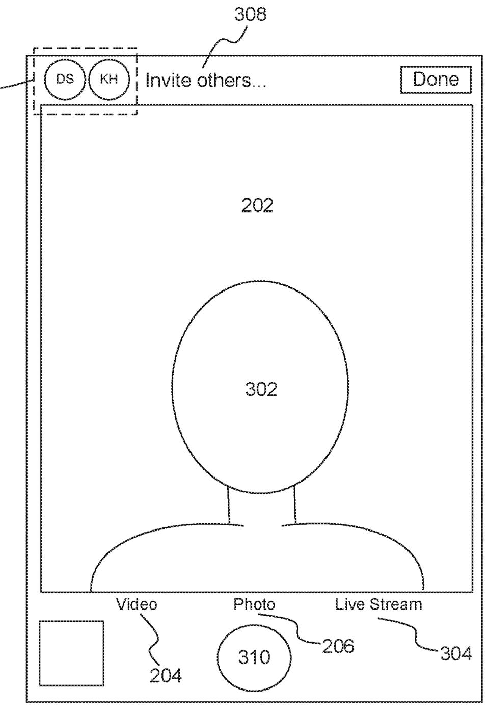 Patent for virtual group selfie on iPhone