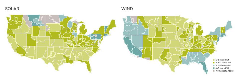 Wind and solar levelized cost of energy capacity built 2020-2035