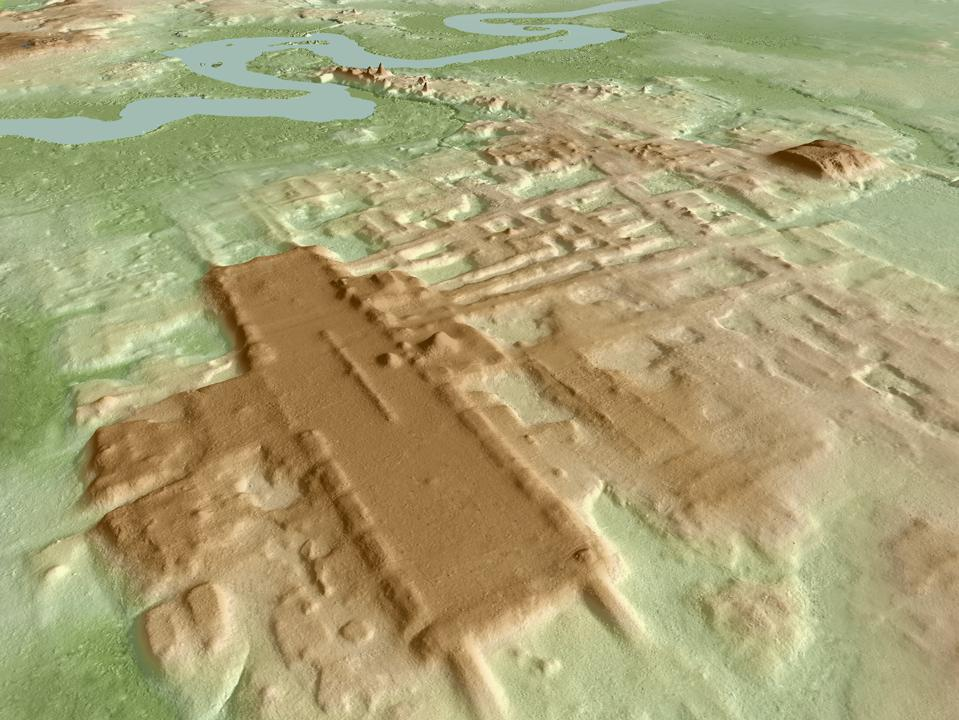 A 3D topographic image of Aguada Fénix, with the features shown in brown.