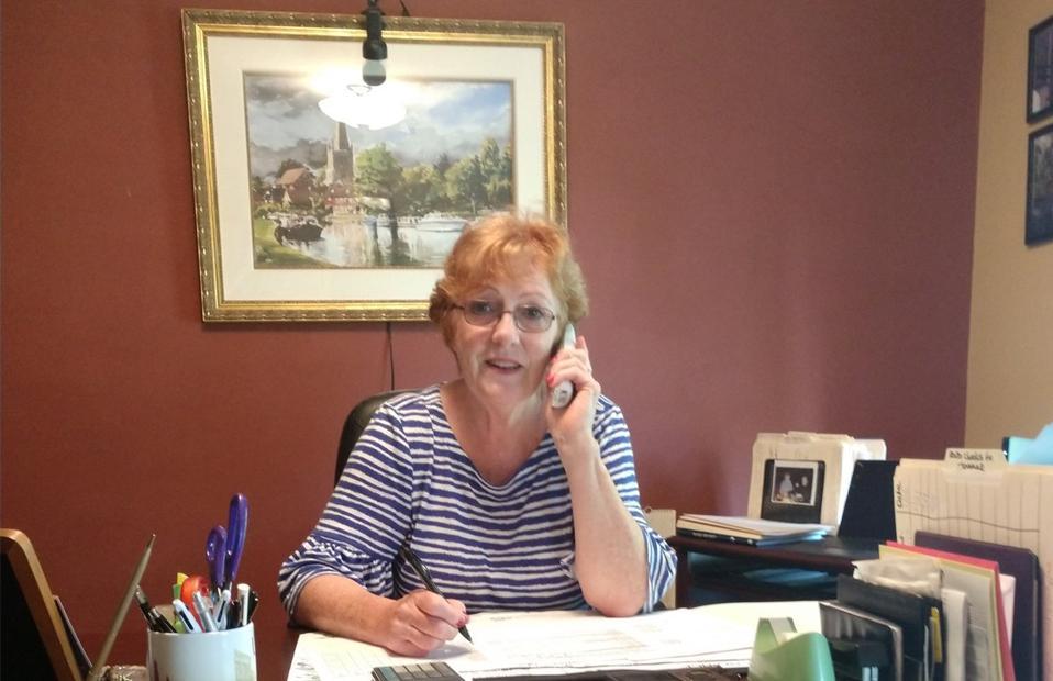 Rita Van Eck volunteering from home for Meals on Wheels