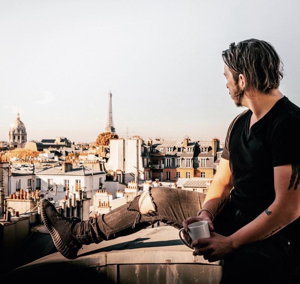 Jean Mouret in Paris, France;  Sneakers by Yeezy