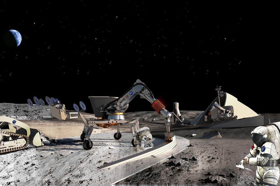 Artist rendition of construction of the Moon.