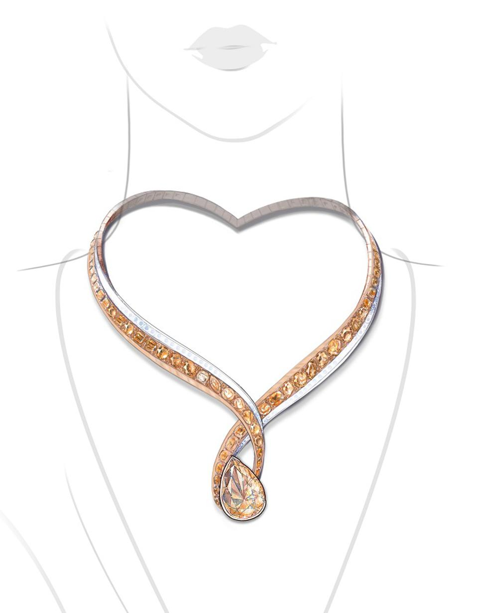 A heart-shaped necklace by Anna Hu, centered with a 27.02-carat fancy brown-yellow diamond