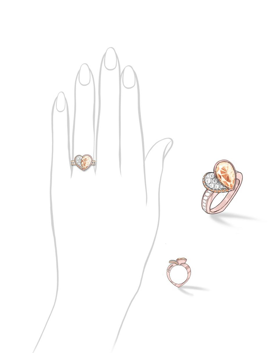 An 18k red gold double heart-shaped ring by Anna Hu centered by a 1.59-carat faint brown diamond