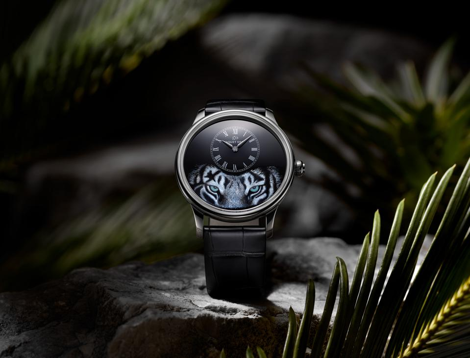 A fierce tiger gazes from Jaquet Droz's newest artistic dial, Petite Heure Minute Tiger.