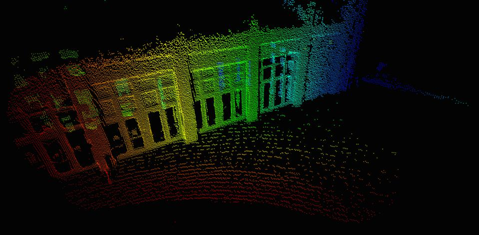 High detail image of city street generated by Sense Photonics' Flash LiDAR system.