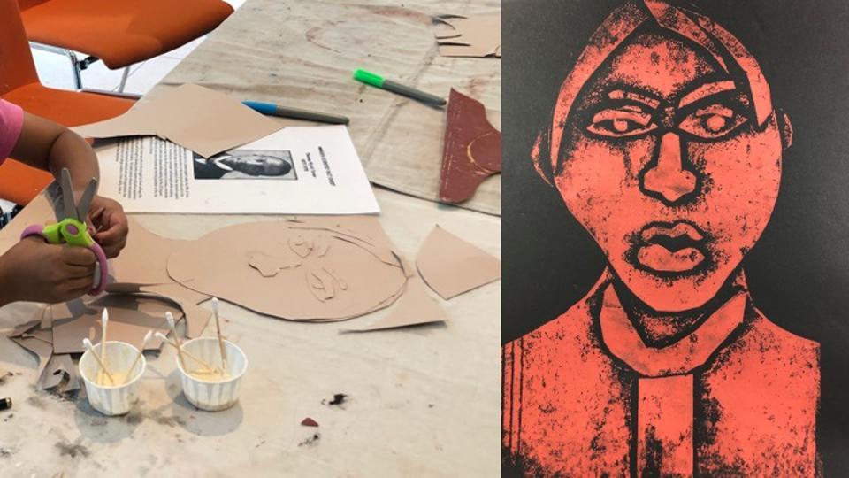 Child cutting a portrait collage