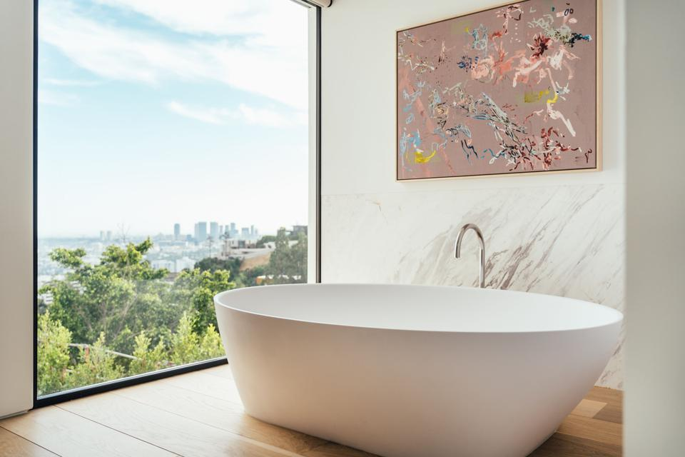 Forest Knoll, Calacatta, freestanding tub, Los Angeles, Hollywood Hills, Compass, luxury real estate