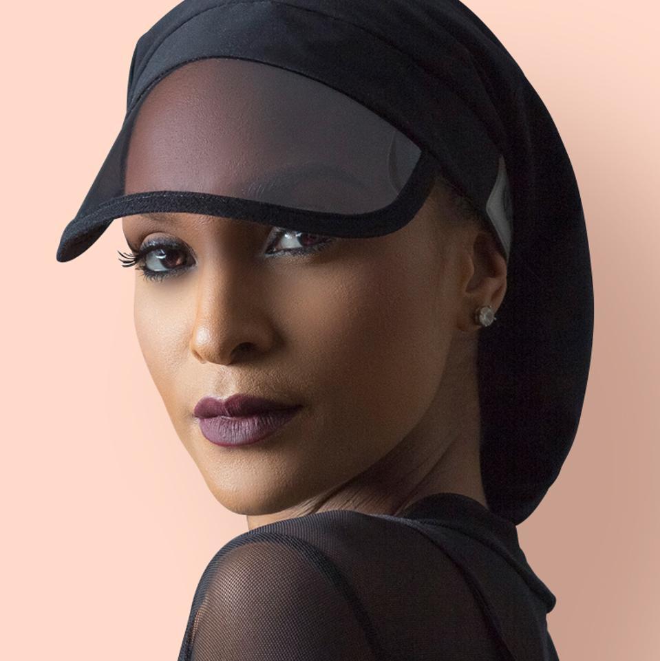 Woman wearing Hairbrella
