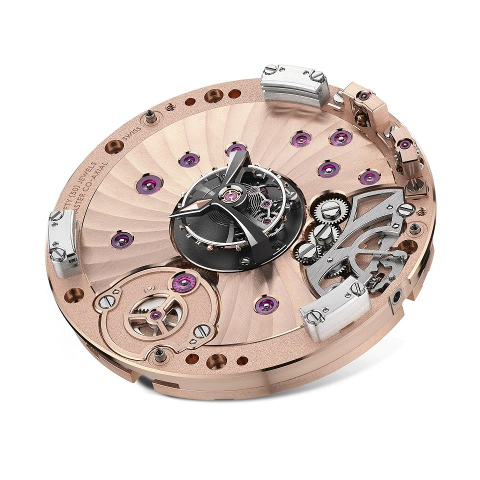 The Omega Co-Axial Master Chronometer Caliber 2640 with the central tourbillon cage