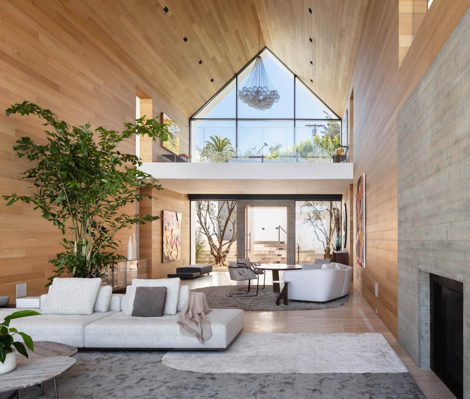 Forest Knoll, organic materials, white oak walls, fireplace,