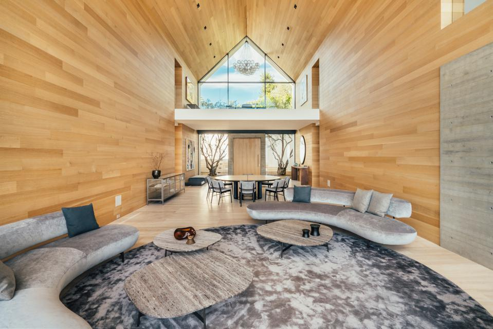 Forest Knoll, great room, Los Angeles, Hollywood Hills, organic, wood, concrete, stone