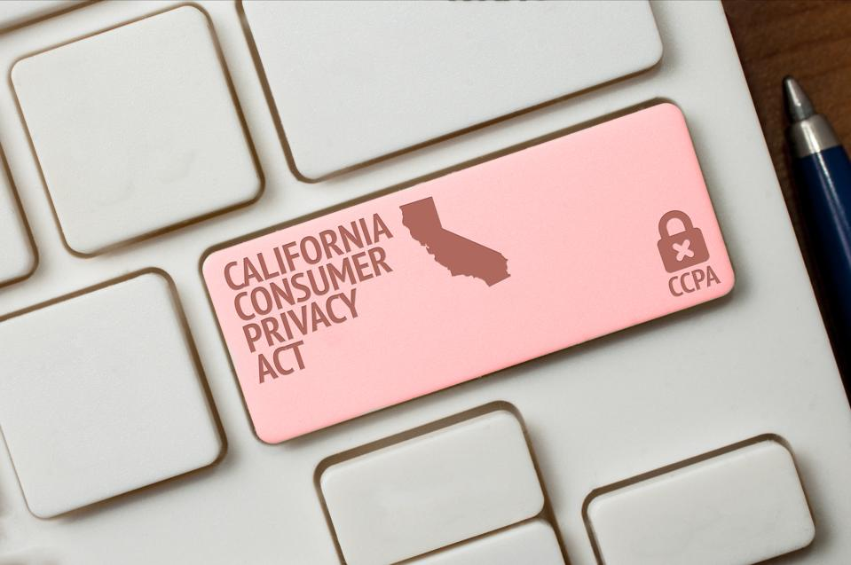 CCPA concept: a black computer keyword with a lock, a California shape and the text California consumer privacy act