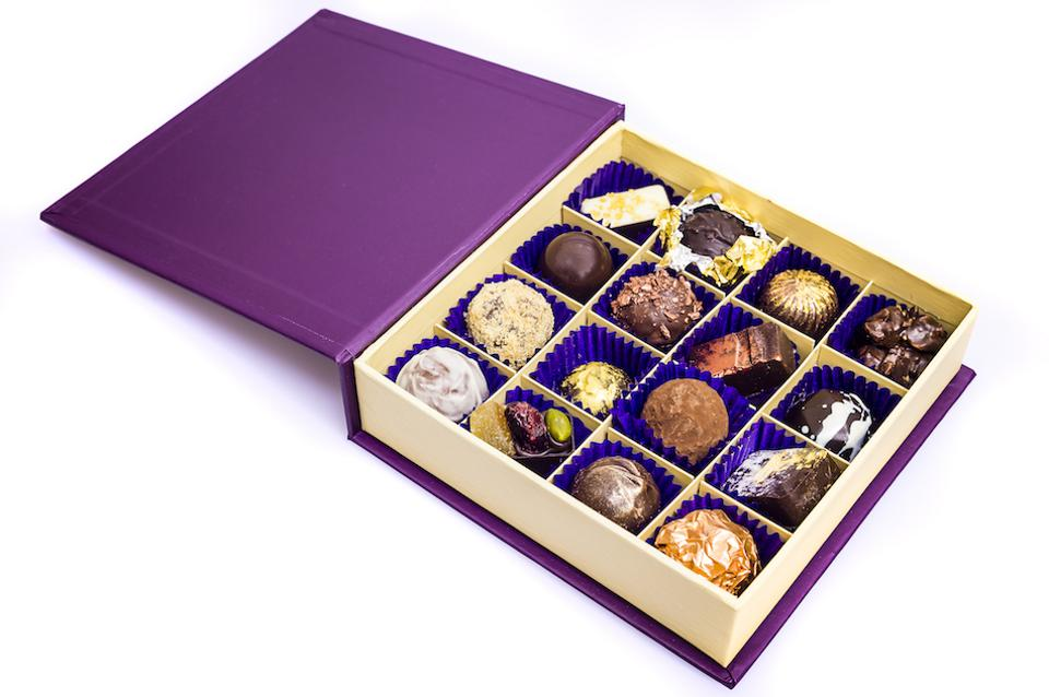 chocolates and truffles in a box