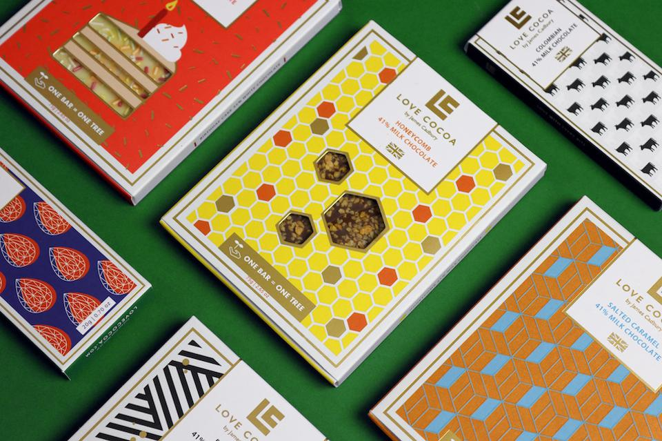chocolate bars in colorful packaging