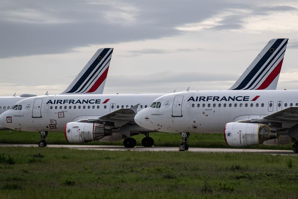 Air France planes parked on the tarmac at Paris Charles de Gaulle Airport in Roissy, on the 45rd day of the Covid-19 pandemic.
