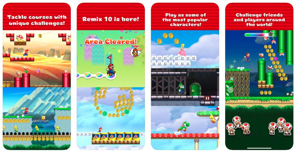 A screenshot of the Super Mario Run hyper casual game, currently ranked #1 on the Apple App Store.