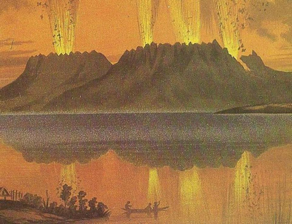 Eruption of the Tawarera, New Zealand, in 1886.