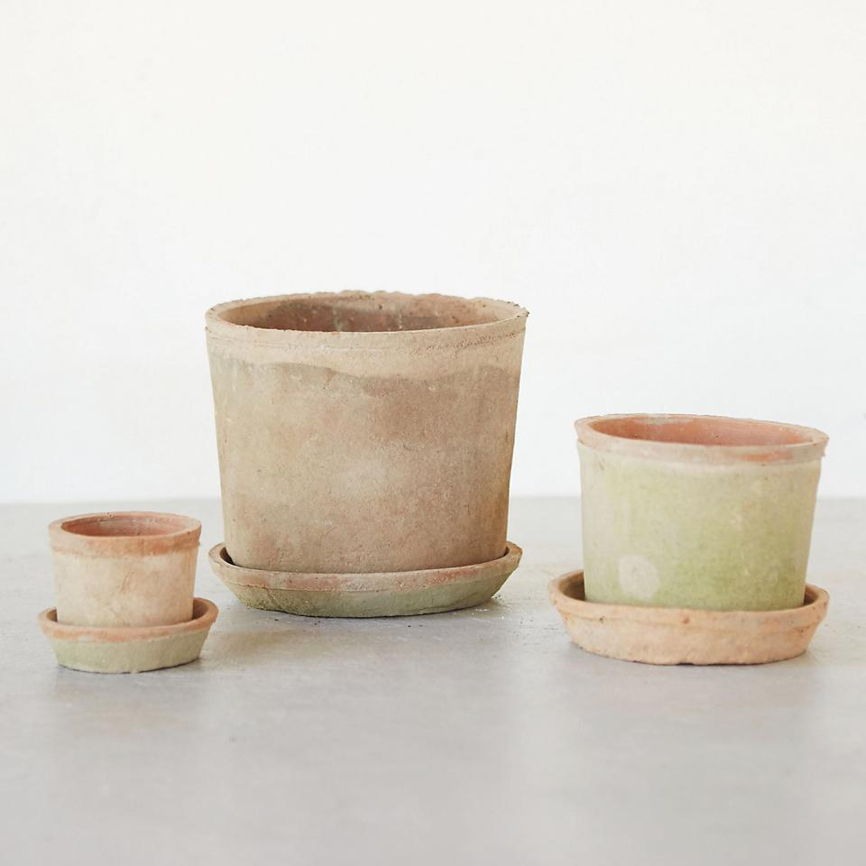 Terrain Earth Fired Clay low sill pot with Saucer