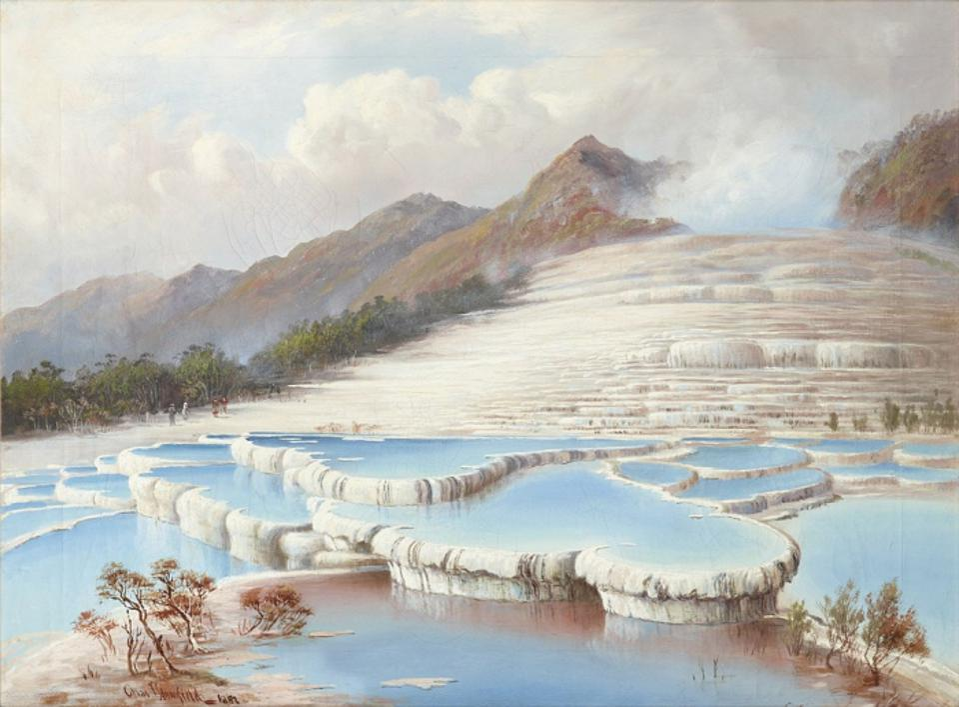 White Terraces, near Rotorua, New Zealand, by artist Charles Blomfield (1848–1926).