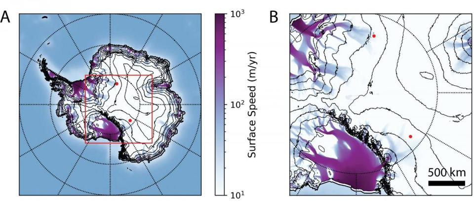 A map (left) and zoom-in (right) of Antarctica, displaying the two anomalous upward-pointing events, represented by red dots, observed by the ANITA experiment, overlaid with surface ice speed (represented by purple/blue coloring) and 500-meter surface elevation contours.