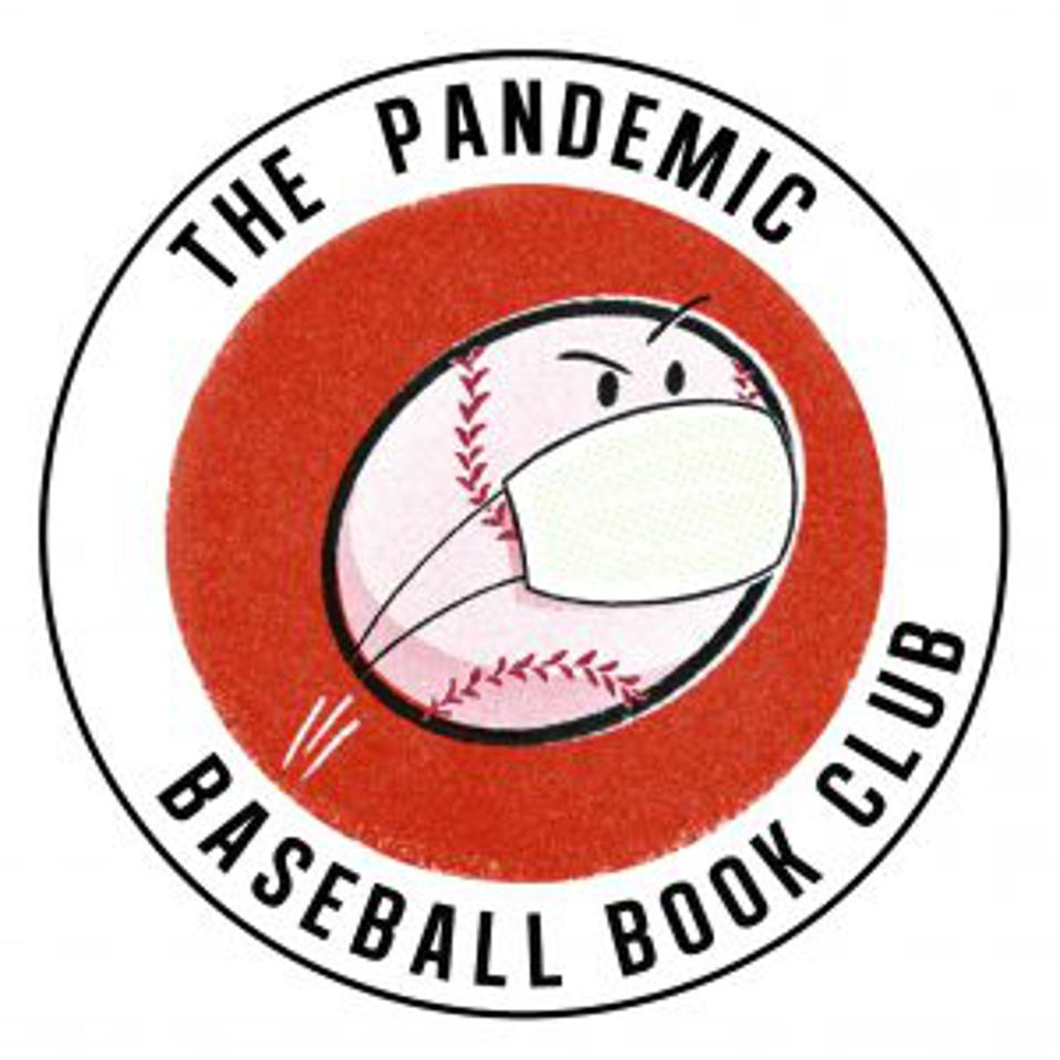 The logo of the Pandemic Baseball Book Club features a cartoon baseball with a mask.