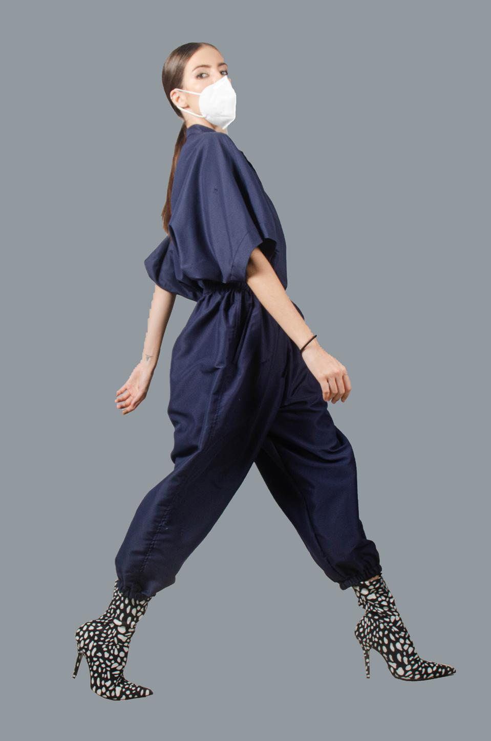A relaxed fit PPE suit by Puey Quinones