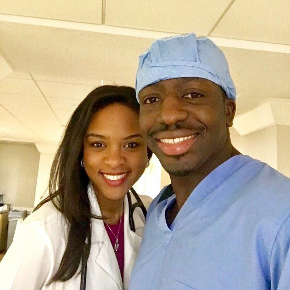 Husband and wife, Theodore Nyame, MD and Sandy Charles, MD, pictured at work.