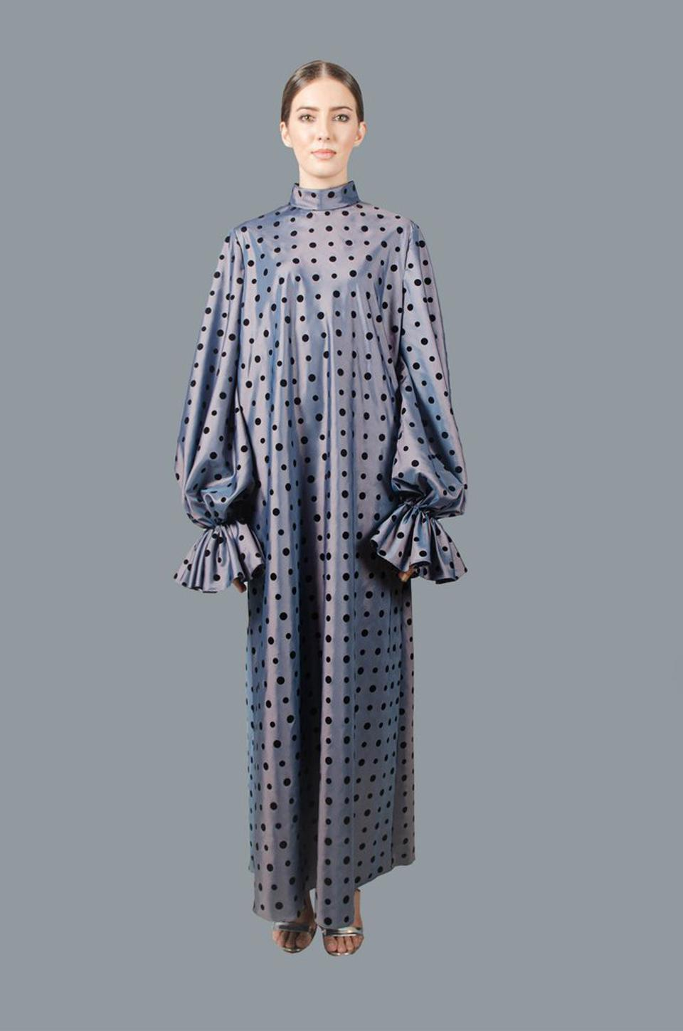 A polka dot dress with puffed sleeves from Puey Quinones is idea for WFH days