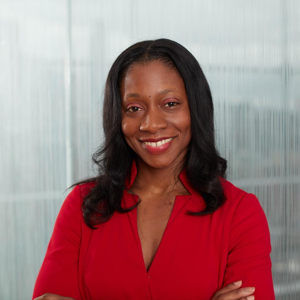 Headshot of Fatima Cody Stanford, MD MPH MPA in red dress.