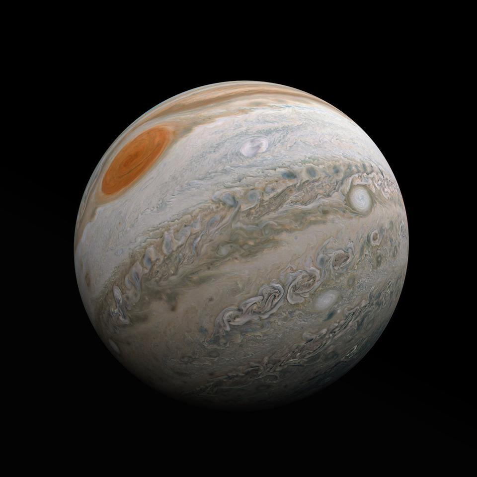 Citizen scientist Kevin Gill's fabulous new photo of Jupiter's mid-southern latitudes from Juno's perijove 27.