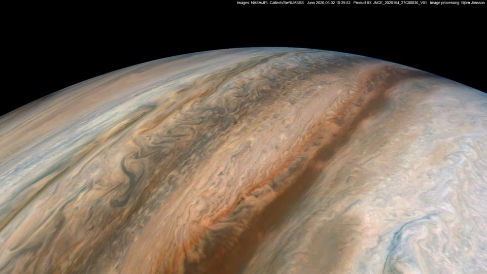 Jupiter's Jet S1, as taken by NASA Juno during its recent perijove 27, and processed by citizen scientist Björn Jónsson.