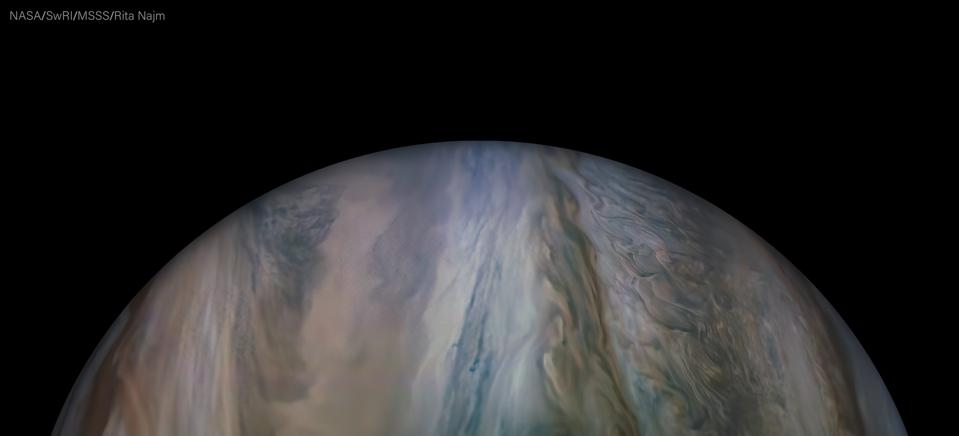 Jupiter's South Equatorial Belt north, as taken by NASA Juno during its recent perijove 27, and processed by citizen scientist Rita Najm.