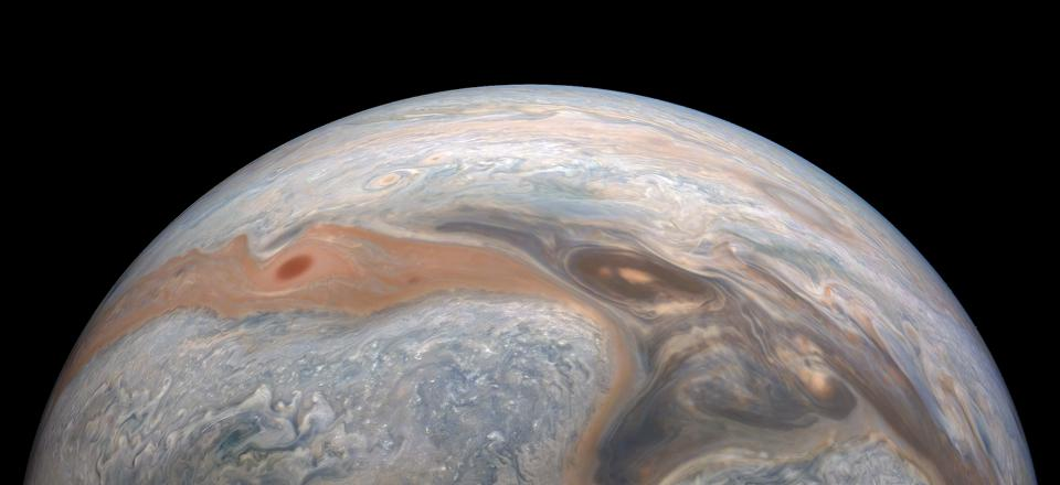 Jupiter, as taken by NASA Juno during its recent perijove 27, and processed by citizen scientist Kevin M. Gill.