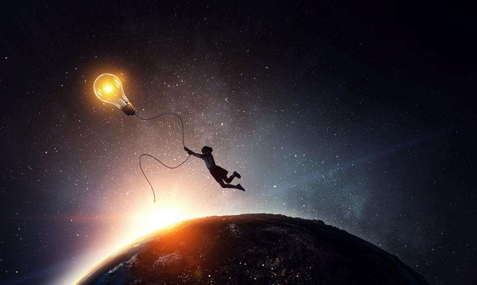 person flies high with bright ideas