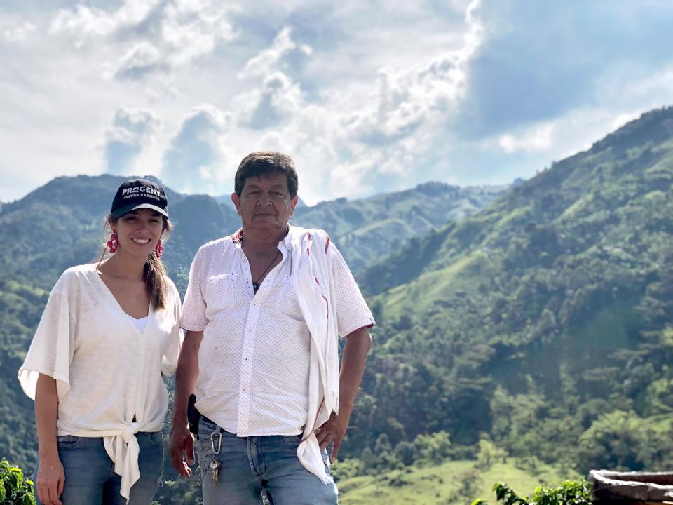Progeny Coffee co-founder Maria Palacio with coffee farmer Hector Castro on a sourcing visit to Colombia. Palacio is a fifth-generation coffee farmer.