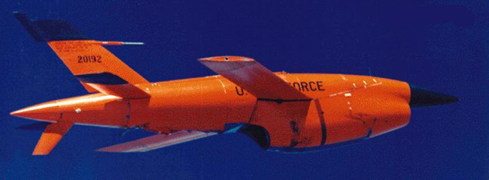 A red, jet- powered target drone