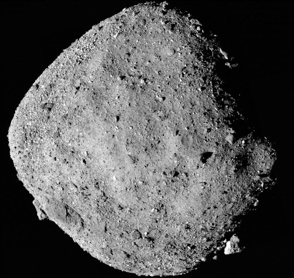 Bennu asteroid as photographed by NASA's OSIRIS-REx spacecraft.