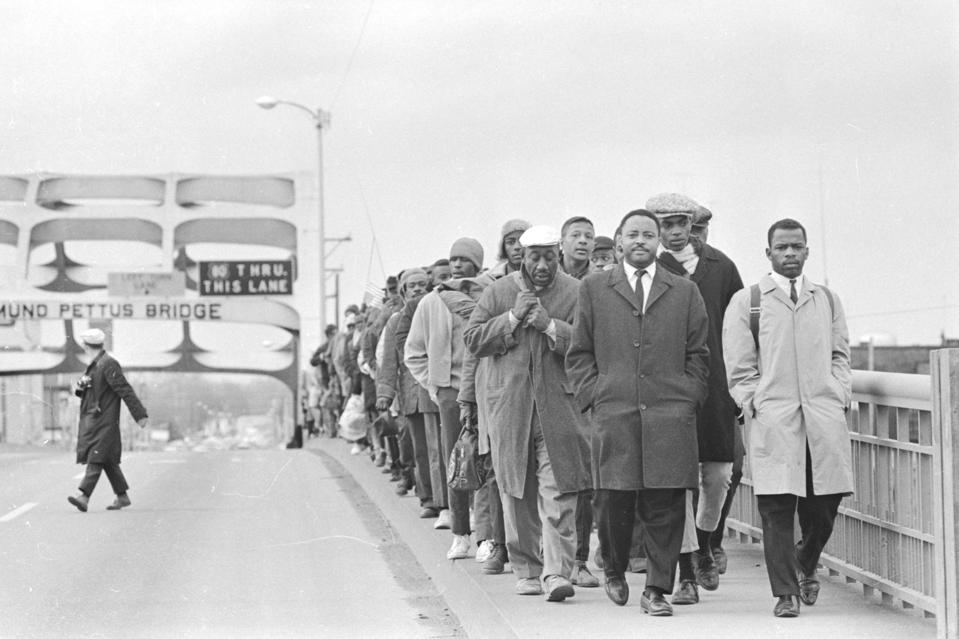 John Lewis and Martin Luther King Jr on Pettus Bridge 1964 Civil Rights March