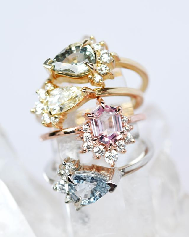 Colorful engagement rings by Valerie Madison