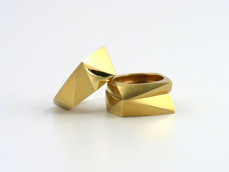 Signature 18k gold faceted rings by Melanie Eddy