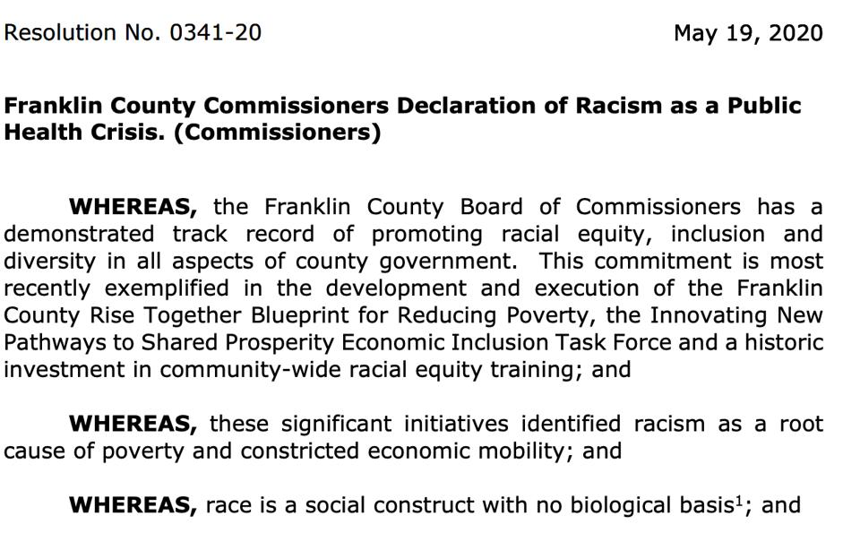 The opening of Franklin County's Declaration of Racism as a public health crisis.
