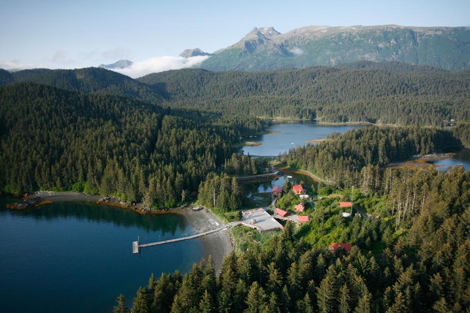 Aerial view of Tutka Bay Lodge in Alaska