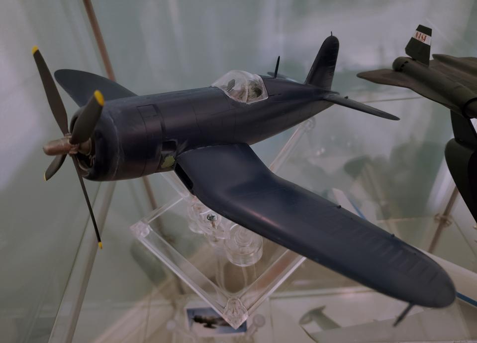 Model of F4U Corsair fighter assembled by Rudy Torrini.