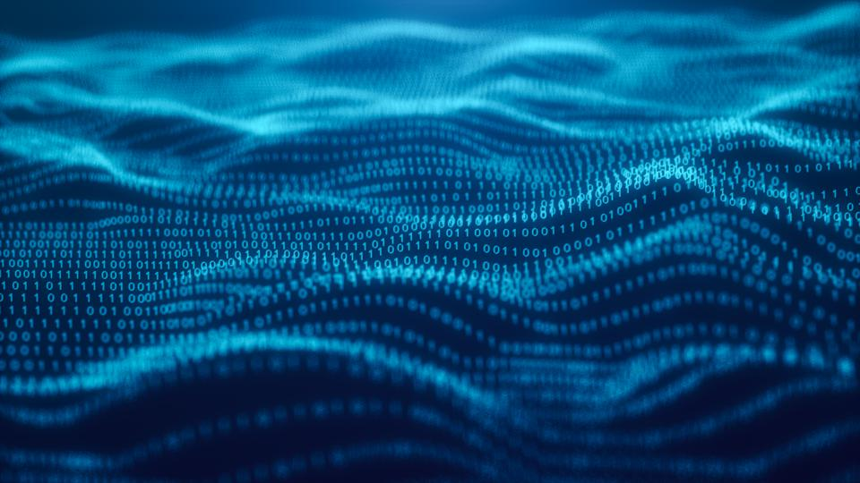 3D illustration Rendering of binary code pattern Abstract background.Futuristic Particles for business,Science and technology background,Blue Background