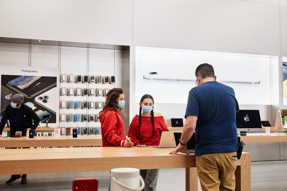 Apple Stores re-opening with social distancing precautions.